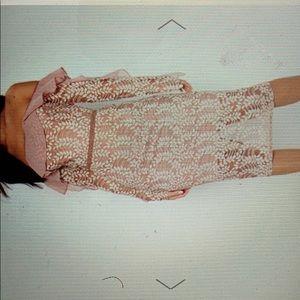 Dusty pink Bardot lace grill sleeve midi dress